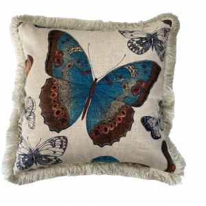 BUTTERFLY ISLAND/S15 0015B/TURQUOISE WITH NATURAL FRINGING/50x50cm CUSHION COVER