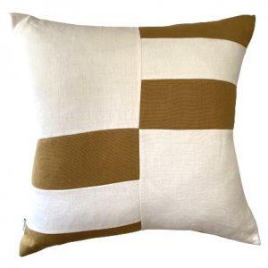 COASTAL HAVEN/SULTANAT MUSTARD/WHITE 60x60cm Cushion Cover F21 0422