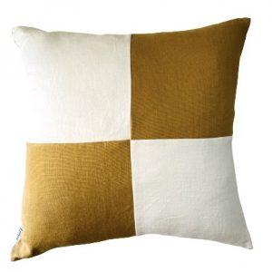 COASTAL HAVEN/SULTANAT MUSTARD/WHITE 60x60cm Cushion Cover F21 0424